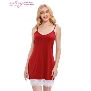 Đầm Ngủ Nữ Hai Dây Thun Lạnh Phối Ren Sexy & Comport Miley Lingerie - DMS0401 thumbnail