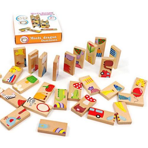 Bộ thẻ gỗ dominoes hình động vật đáng yêu giúp bé thông minh 28pcs