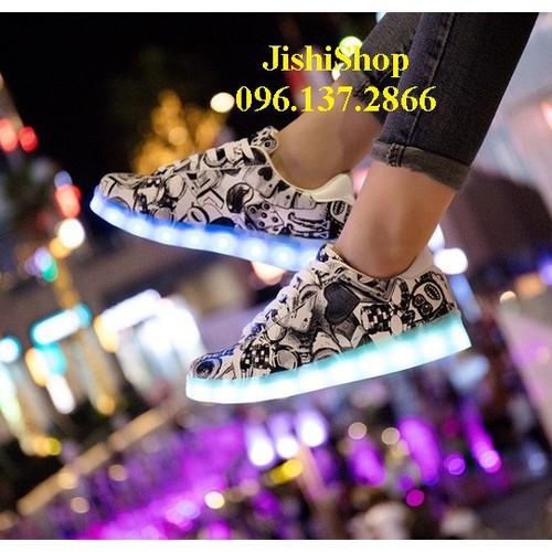 Đn giày phát sáng đèn led 7 màu họa tiết đen nhạt năng động cá tính