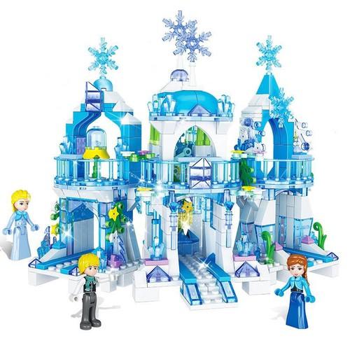 Bé gái công chúa công chúa lâu đài xây dựng lắp ráp băng tuyết thế giới