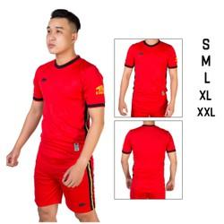 Đồ bộ quần áo thể thao bóng đá nam CRT màu Đỏ Thời trang Everest - Thun dày đẹp - Chất vải đẹp form chuẩn
