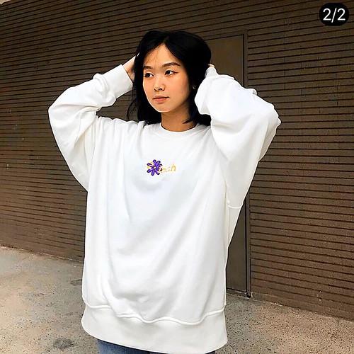 Áo sweater unisex form rộng tay dài giá rẻ in chữ chất tici chính phẩm dày mịn