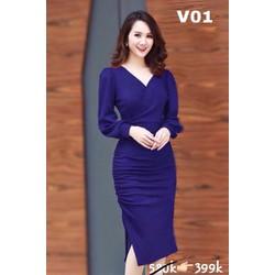 Đầm ôm M, L, XL, 2XL tay dài vải lụa Umi korea, dày,co giãn tốt  thiết kế cao cấp 40-74kg