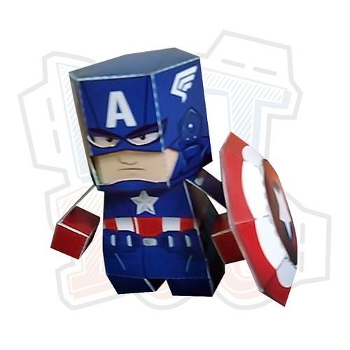 Mô hình giấy chibi captain america avengers