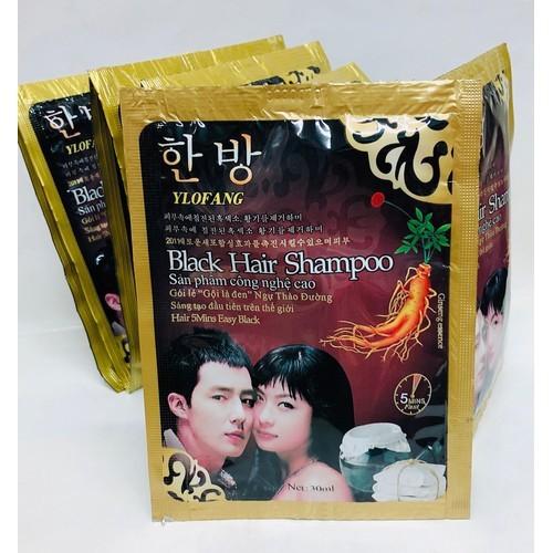 10 gói dầu gội đầu là đen black hair shampoo