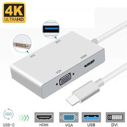 Cáp Chuyển Type-C ra HDMI, VGA, DVI, USB 3.0