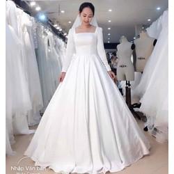 ao cưới phi trắng tay dài đơn giản