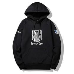 Áo Attack On Titan kiểu dáng hoodie dài tay mũ trùm đầu nỉ co giãn 4 chiều