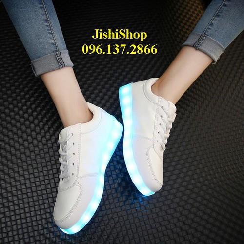 Tt giầy phát sáng trắng trơn đèn led 11 chế độ pháy sáng cao cấp tặng dây giầy 7 màu