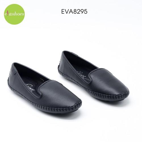 Giày slipon đế bệt mũi vuông viền khâu chỉ da tổng hợp evashoes - eva8295