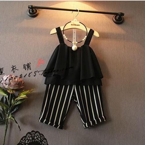 Sét áo hai dây  + quần sọ thời trang xinh xắn cho bé gái