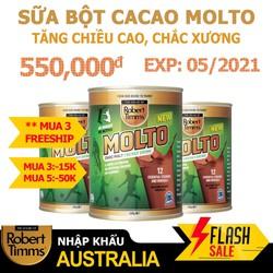 Sữa bột Canxi ca cao Robert Timms Molto 450g Australia giúp tăng trưởng chiều cao, bổ sung Canxi. Hàng Úc