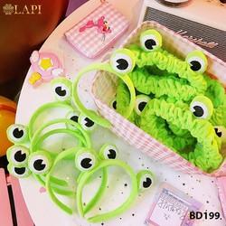 Băng đô rửa mặt hình ếch xanh dễ thương co dãn cực tốt