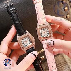 Đồng hồ nữ mặt vuông đính đá - đồng hồ nữ