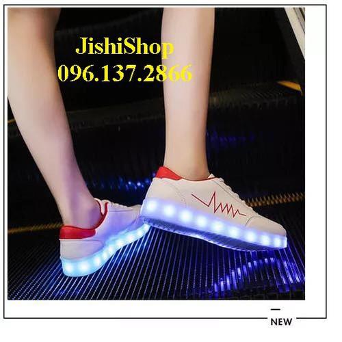 Ntđ giày phát sáng nhịp tim đỏ giày nhảy phát sáng năng động cho học sinh tặng dây giầy 7 màu