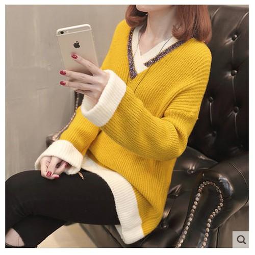 Áo len nữ cổ v thời trang mùa đông dễ thương
