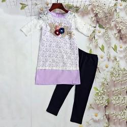 SIÊU SALES - Set áo dài cách tân ren quần legging dễ thương cho bé 10-25kg - Ninedra