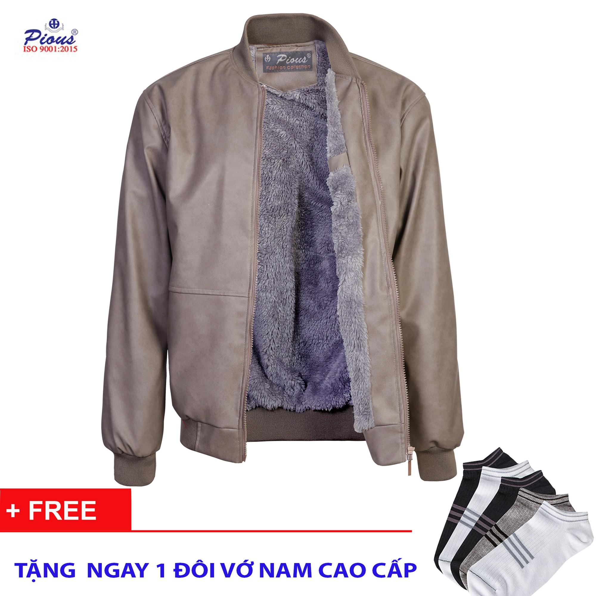 Áo khoác da lót lông nam thời trang cao cấp pious AKD110