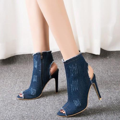 Giày cao gót denim dây kéo mã: gc0193 - xanh đậm