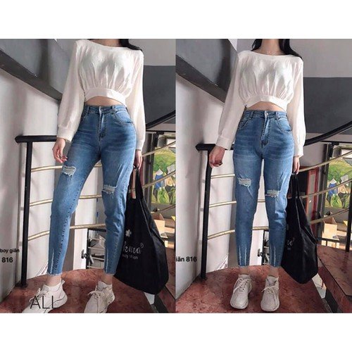 Quần baggy jeans nữ co giãn vải vnxk