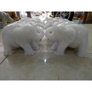 Cặp tượng voi đá trắng 15cm - TVĐT15 thumbnail