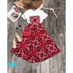 Đầm maxi áo và chân váy xòe 40-59kg thiết kế Cao cấp