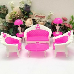 Nội thất nhà búp bê – bộ bàn ghế 6 chi tiết cho búp bê barbie
