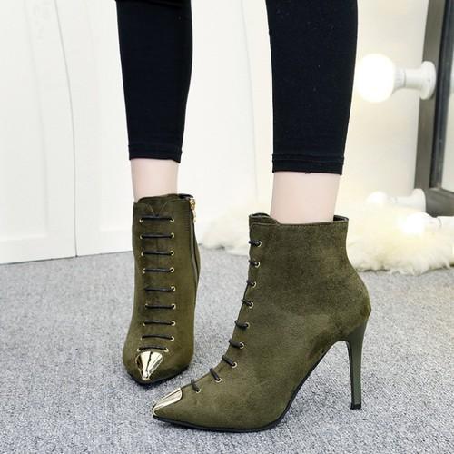 Giày boot cao gót mũi nhọn mã: gc0205 - xanh rêu
