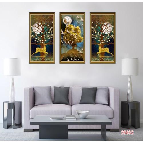 Bộ 3 bức tranh dán tường trang trí phòng khách đẹp nhất