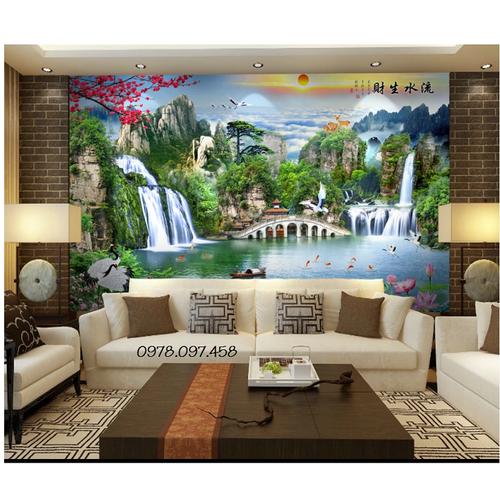 Gạch tranh phong cảnh trang trí phòng khách đẹp