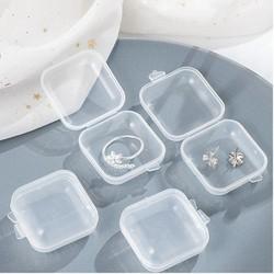 6Hộp vuông nhỏ bằng nhựa trong suốt 3.5x3.5cm
