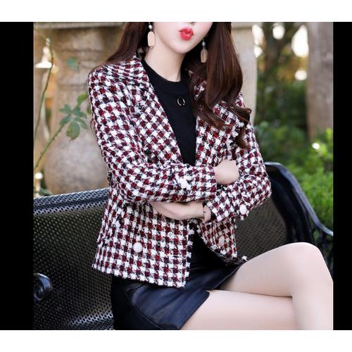 Áo khoác dạ ngắn sọc caro thời trang phong cách hàn