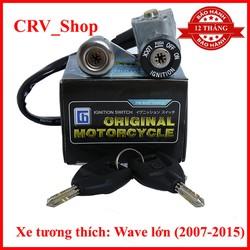 Bộ ổ khóa xe máy WAVE A từ 2007 - 2015 8 cạnh khóa điện, khóa yên, 2 chìa