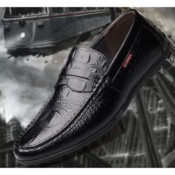 [Bảo hành 1 năm] Giày lười nam da bò vân cá sấu đế cao su khâu chắc chắn - kiểm hàng ưng ý mới thanh toán