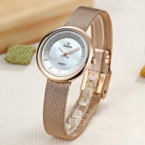 Trợ giá khủng đồng hồ nữ chính hãng wwoor 8820 dây thép mành cao cấp cao cấp full box