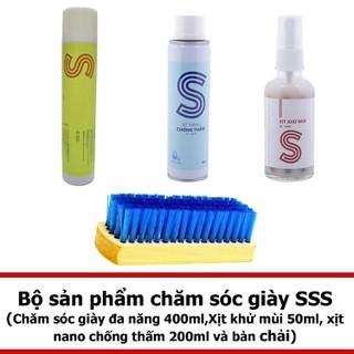 Bộ chăm sóc giày đa năng 400ml, xịt khử mùi 50ml, xịt nano chống thấm 200ml và bàn chải COMBOSSS12 - COMBOSSS12 thumbnail