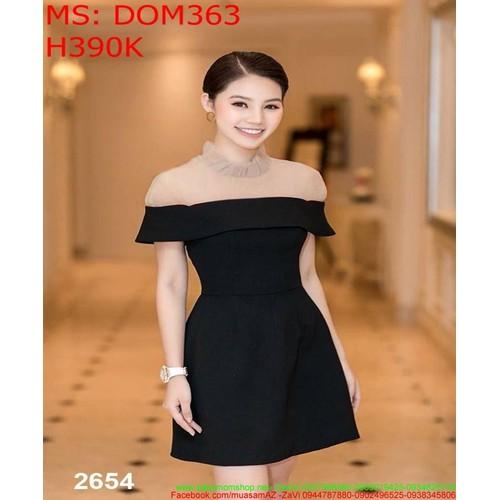 Đầm body đen phối lưới cổ trụ sành điệu thời trang dom363