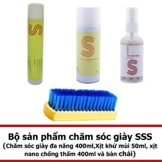 Bộ chăm sóc giày đa năng 400ml, xịt khử mùi 50ml,xịt nano chống thấm 400ml và bàn chải COMBOSSS13 - COMBOSSS13 thumbnail