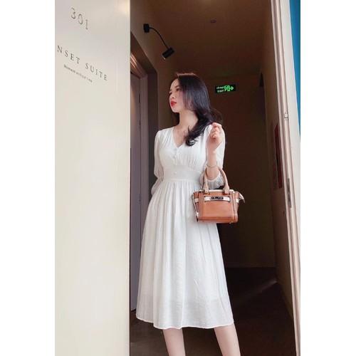 Đầm trắng midi cổ v bo eo cột nơ lưng - 21080621 , 24215222 , 15_24215222 , 150000 , Dam-trang-midi-co-v-bo-eo-cot-no-lung-15_24215222 , sendo.vn , Đầm trắng midi cổ v bo eo cột nơ lưng