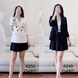 Bộ áo vest chân váy ba món nữ thời trang