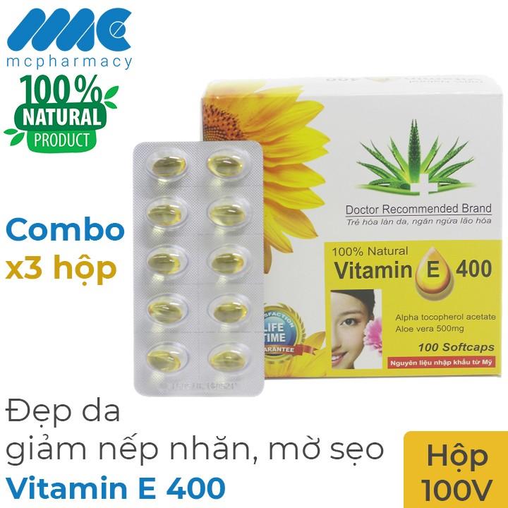 Combo 3 hộp Vitamin E 400 tinh chất nha đam