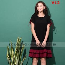 Đầm bầu thiết kế phối chân bèo tầng V12
