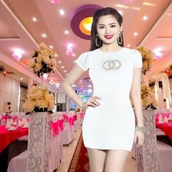 ĐẦM ÔM BODY đính đá trắng vải thun nhung co gian 4 chiều cực tôn dáng và sang từ 45 đến 65kg