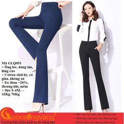 Quần nữ công sở ống loe quần treggings lưng cao lưng thun GLQ051