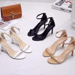 Giày sandal cao gót Erosska thời trang mũi vuông phối dây quai mảnh cao 3cm EB018
