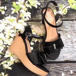 Giày sandal đế xuồng đính nơ, đế cao 10cm sang chảnh