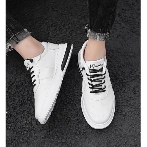 Giày thể thao nam da cao cấp thoáng khí mới giản dị màu trắng giày trượt ván nam giày trắng hoang dã