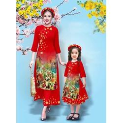 Set áo dài cách tân nữ M, L, XL, 2XL, 1 áo mẹ + 1 quần mẹ tết dân gian  thiết kế cao cấp