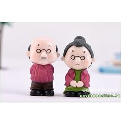 Cặp đôi tượng ông bà già đứng loại to trang trí tiểu cảnh mini