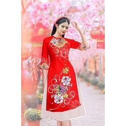 Áo dài cách tân nữ hoa mùa xuân, chim công, họa tiết dân gian vải tơ lụa size M, L, XL, 2XL, 40-75kg thiết kế cao cấp